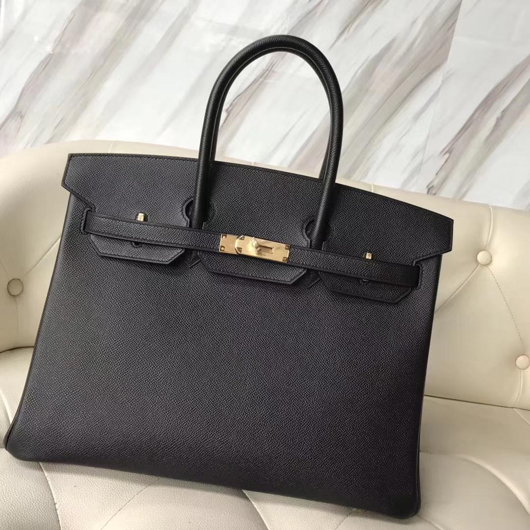 Fashion Hermes CK89 Black & Q5 Rouge Casaque inner Epsom Calf Birkin35CM Bag