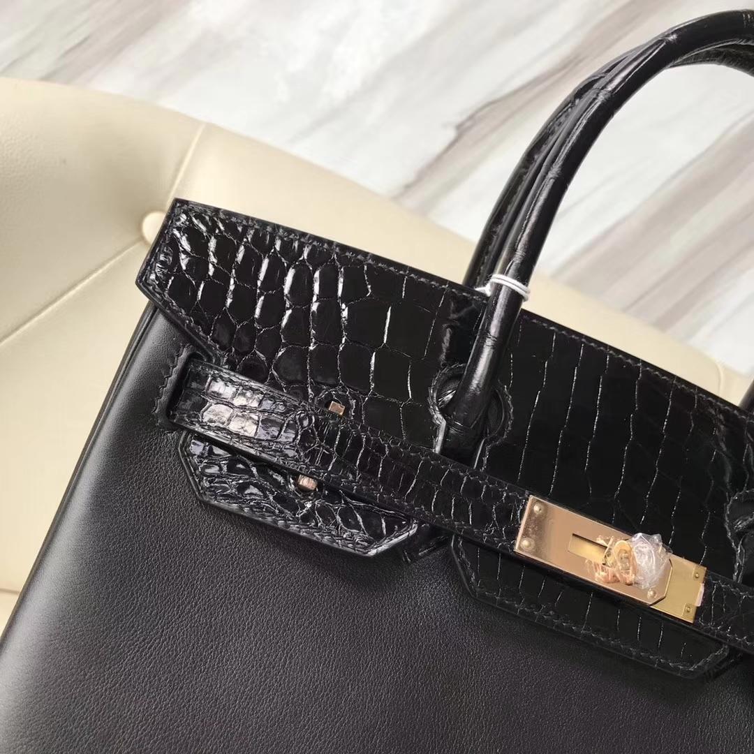 Luxury Hermes CK89 Black Swift Calf & Shiny Crocodile Leather Birkin35CM Rose Gold Hardware