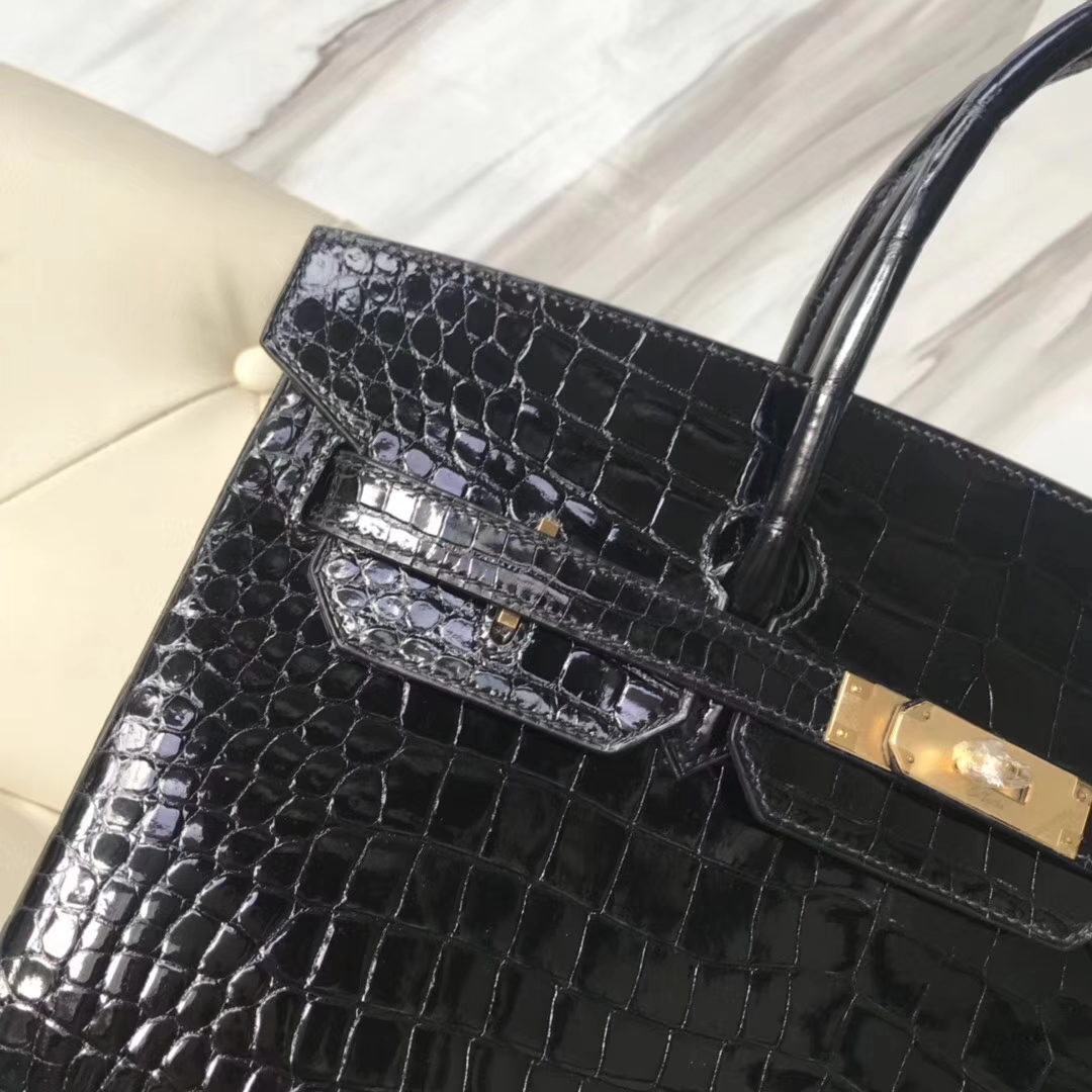 Luxury Hermes CK89 Black Shiny Crocodile Leather Birkin35CM Bag Gold Hardware