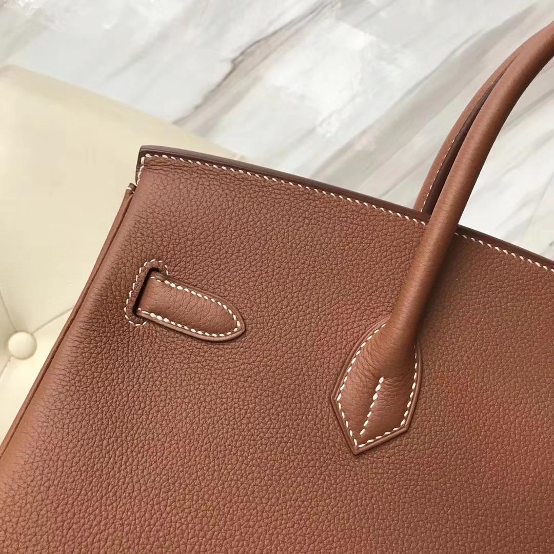 Discount Hermes Birkin35CM CK37 Gold/Dark Coffee Togo Leather&White Lizard Leather