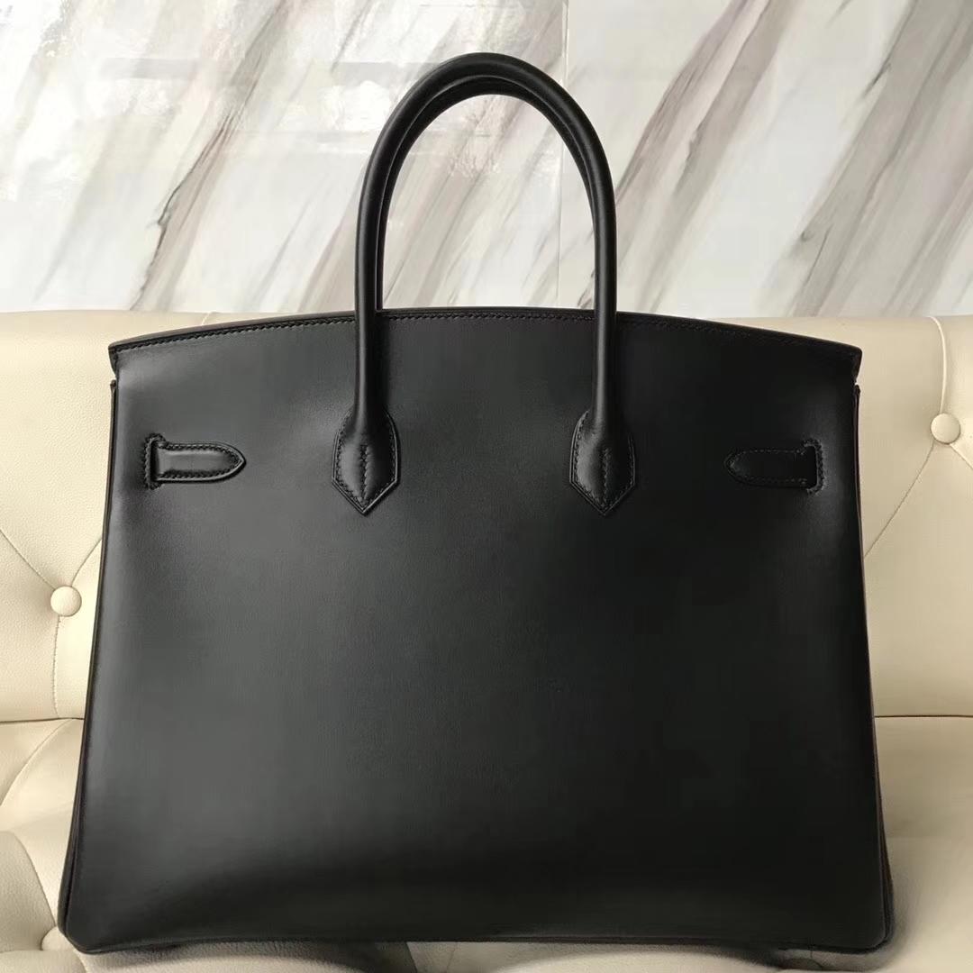 Hermes Birkin 35 Black Box Calf Palladium Hardware