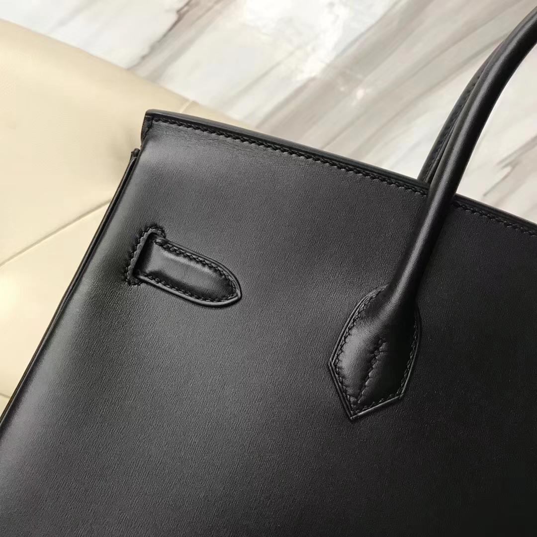 Hermes Box Calf Birkin 35 Black Palladium Hardware