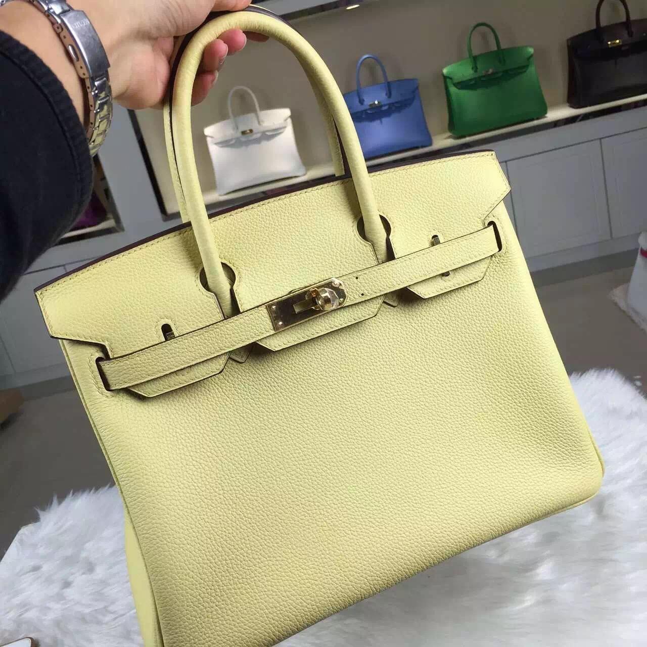 Luxury Hermes Birkin 30CM Togo Leather 1Z Jaine Poessin Gold Hardware