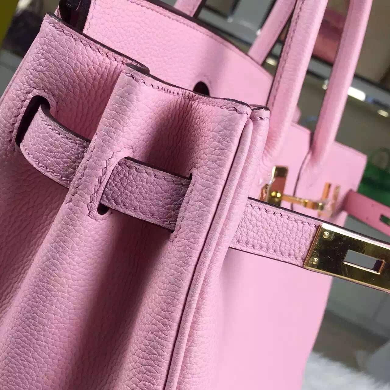 2015 New Pretty Hermes 3Q Rose Sakura France Togo Leather Birkin Bag 30CM