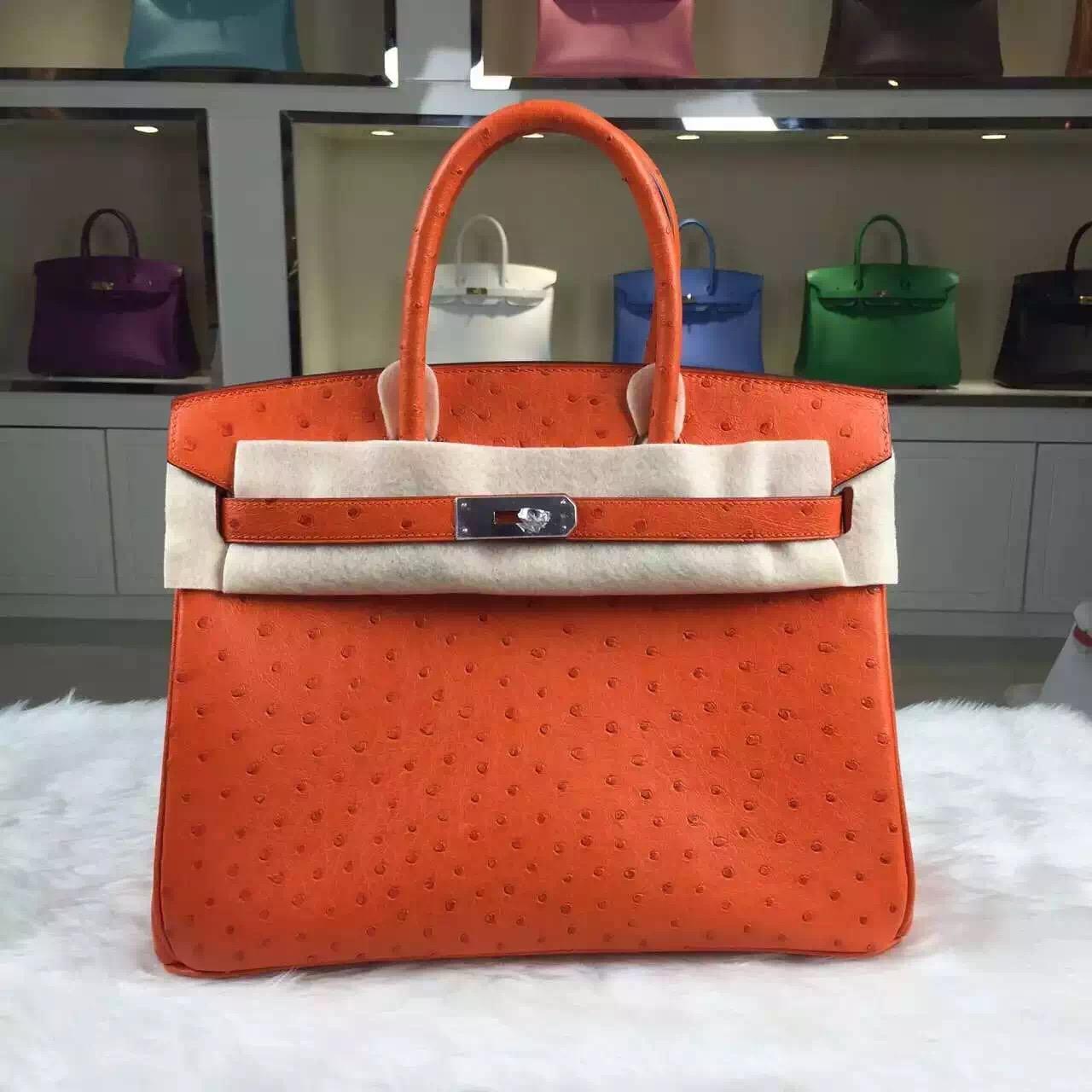 Discount Hermes Original Ostrich Leather Birkin 30CM Orange Color Silver Hardware
