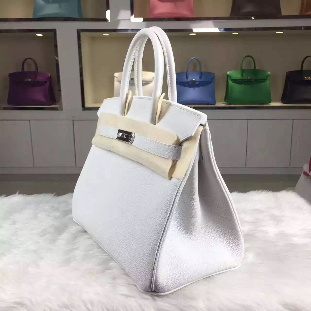 Hermes Birkin 30CM 01 White France Togo Leather Elegant Ladies' Tote Bag