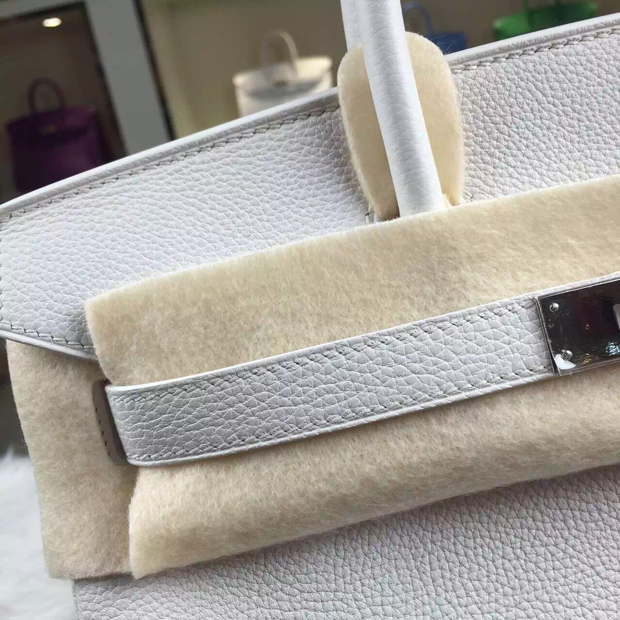 Hermes Birkin 30CM 01 White France Togo Leather Elegant Ladies' Tote Bag