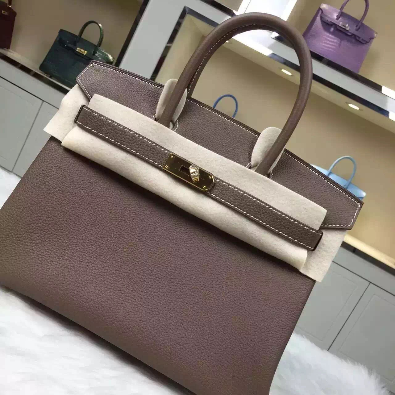Hot Sale Hermes C8 Etoupe Grey Original Togo Leather Birkin Bag 30CM