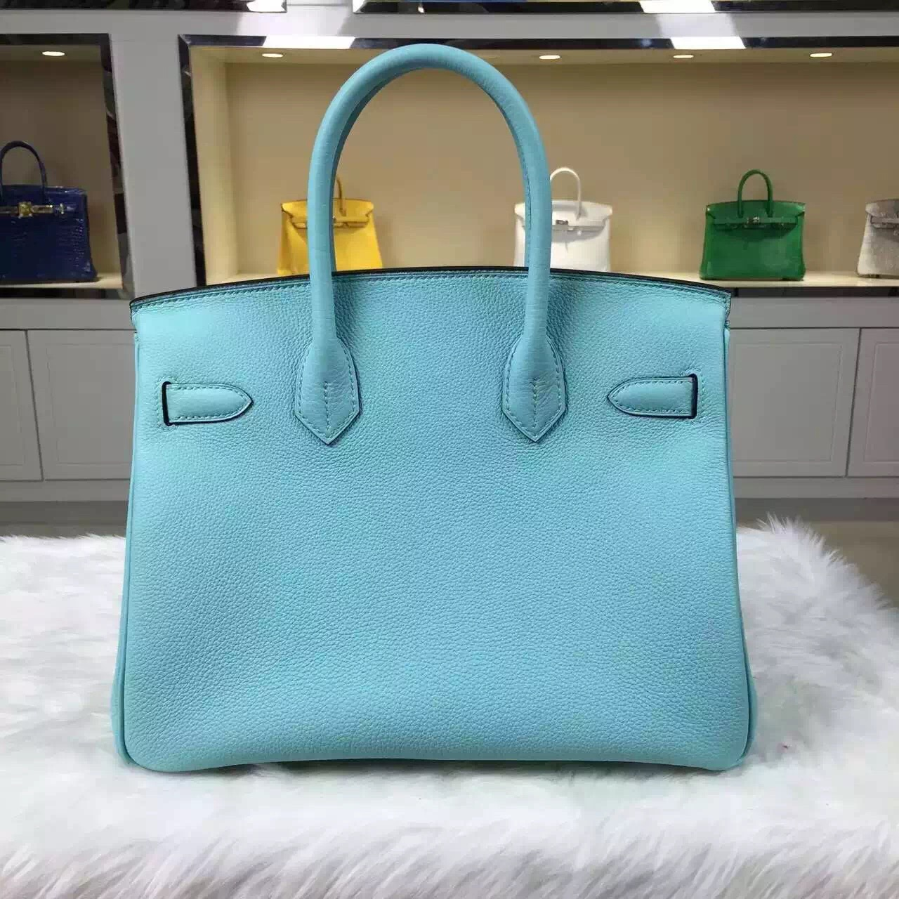 Luxury Hermes 7B Turquoise Blue Birkin 30CM Togo Leather Gold Hardware