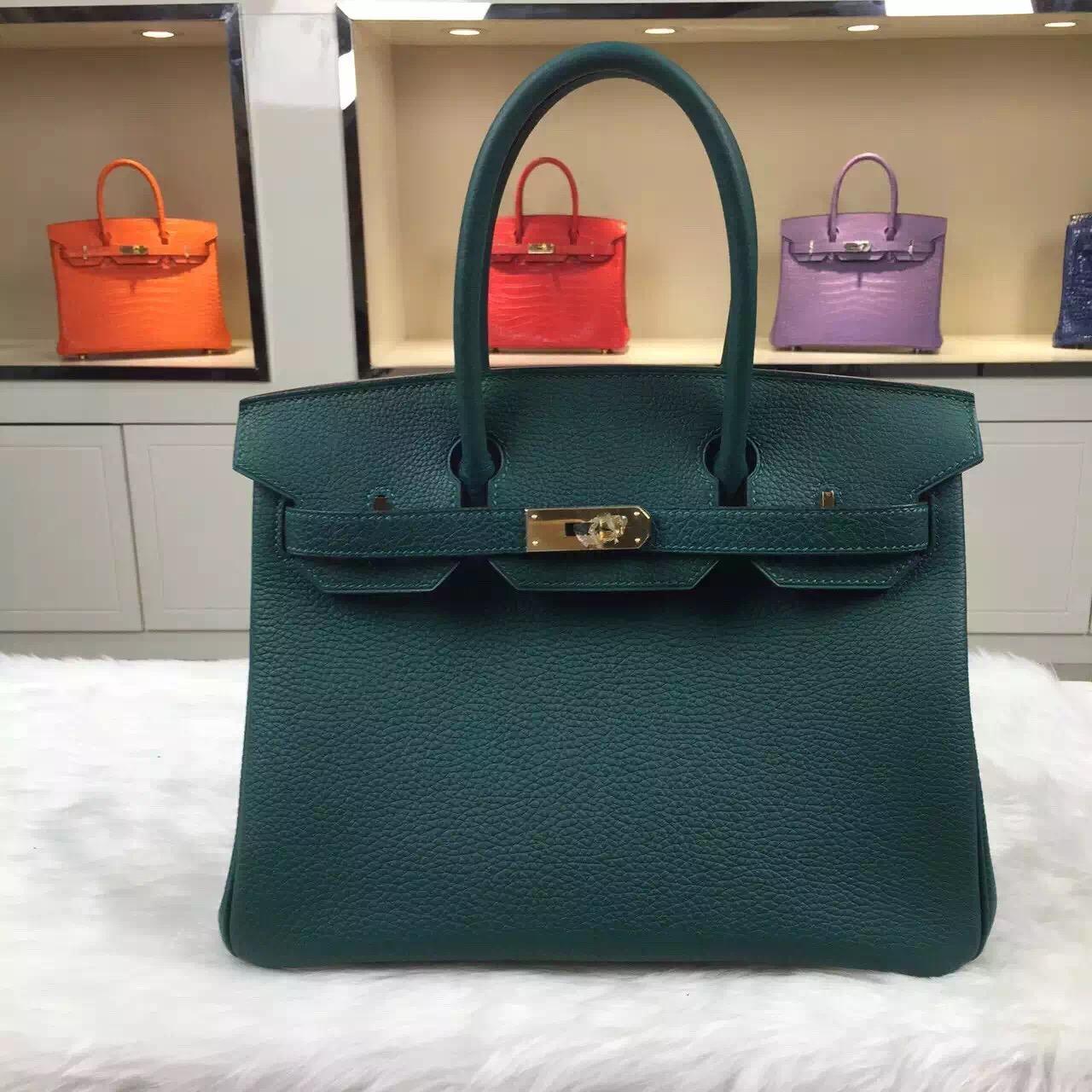 Online Shop Hermes Z6 Malachite Green Original Togo Leather Birkin Bag 30CM