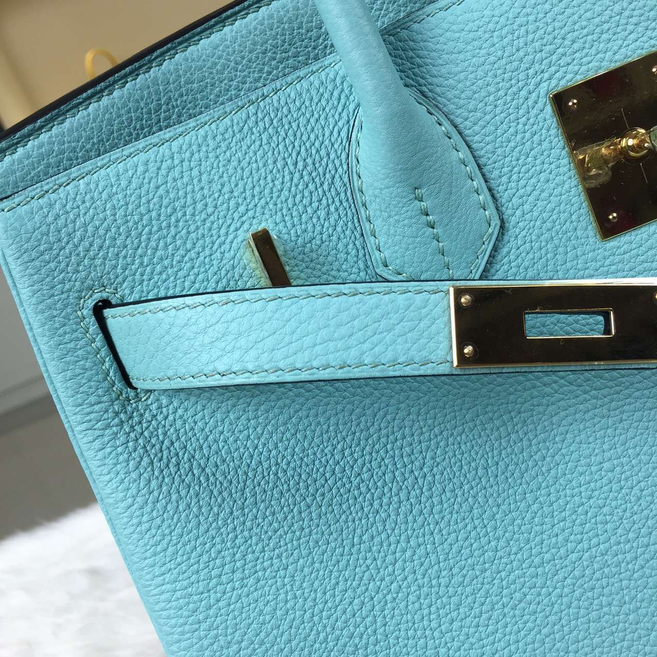 Vip Customized Hermes Togo Leather Birkin Bag 30CM in 3P Lagon Blue