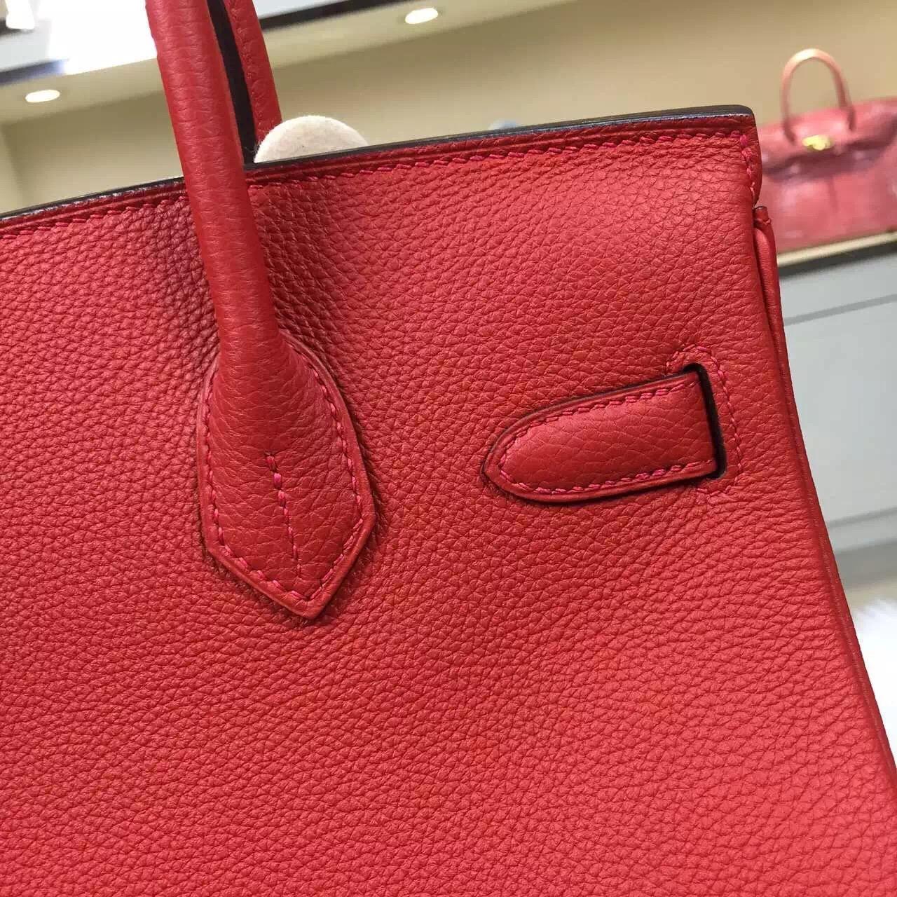 Discount Hermes Q5 Flag Red Original Togo Leather Birkin Bag 30CM