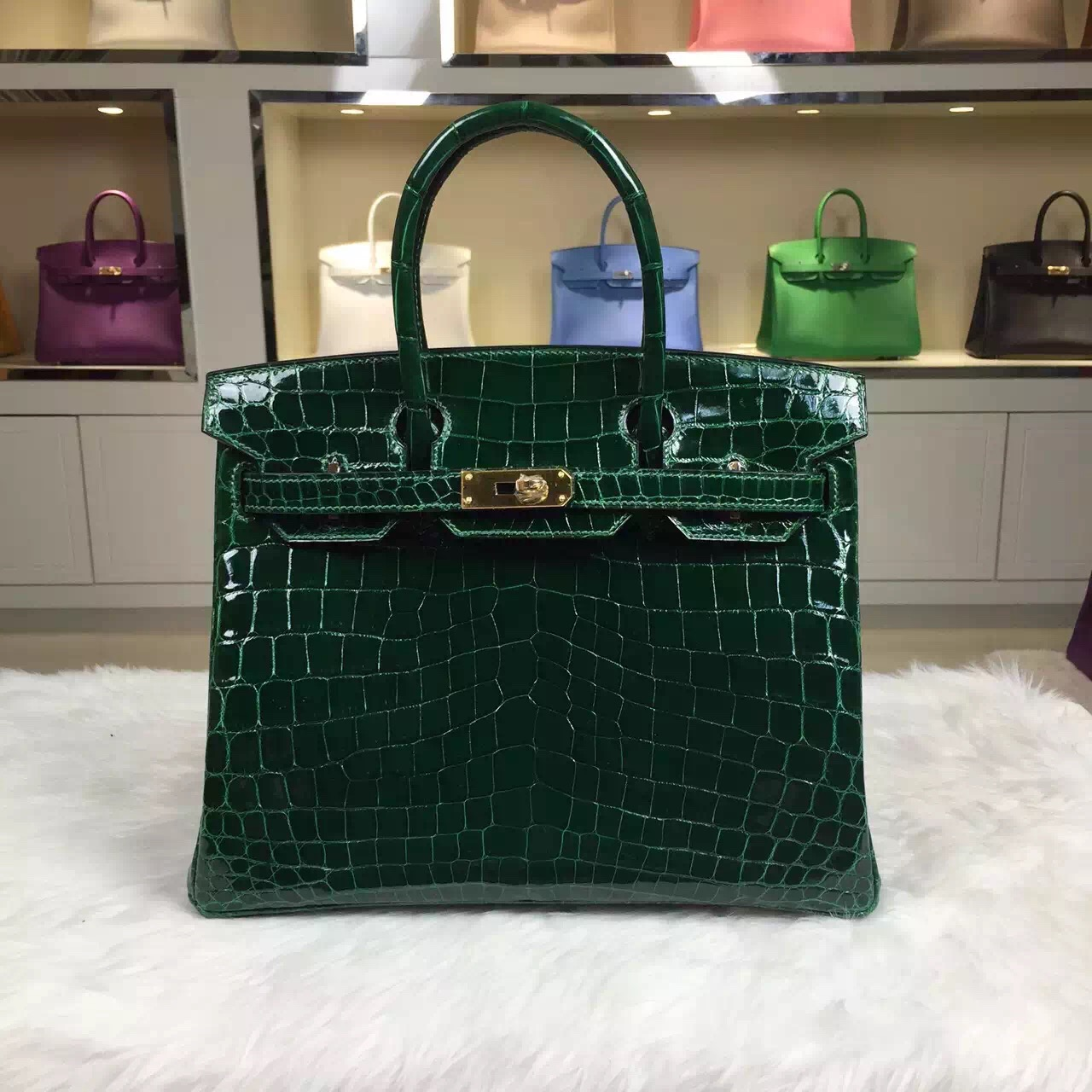 Hand Stitching Hermes Birkin30CM CK67 Emerald Green HCP Crocodile Leather Women's Handbag