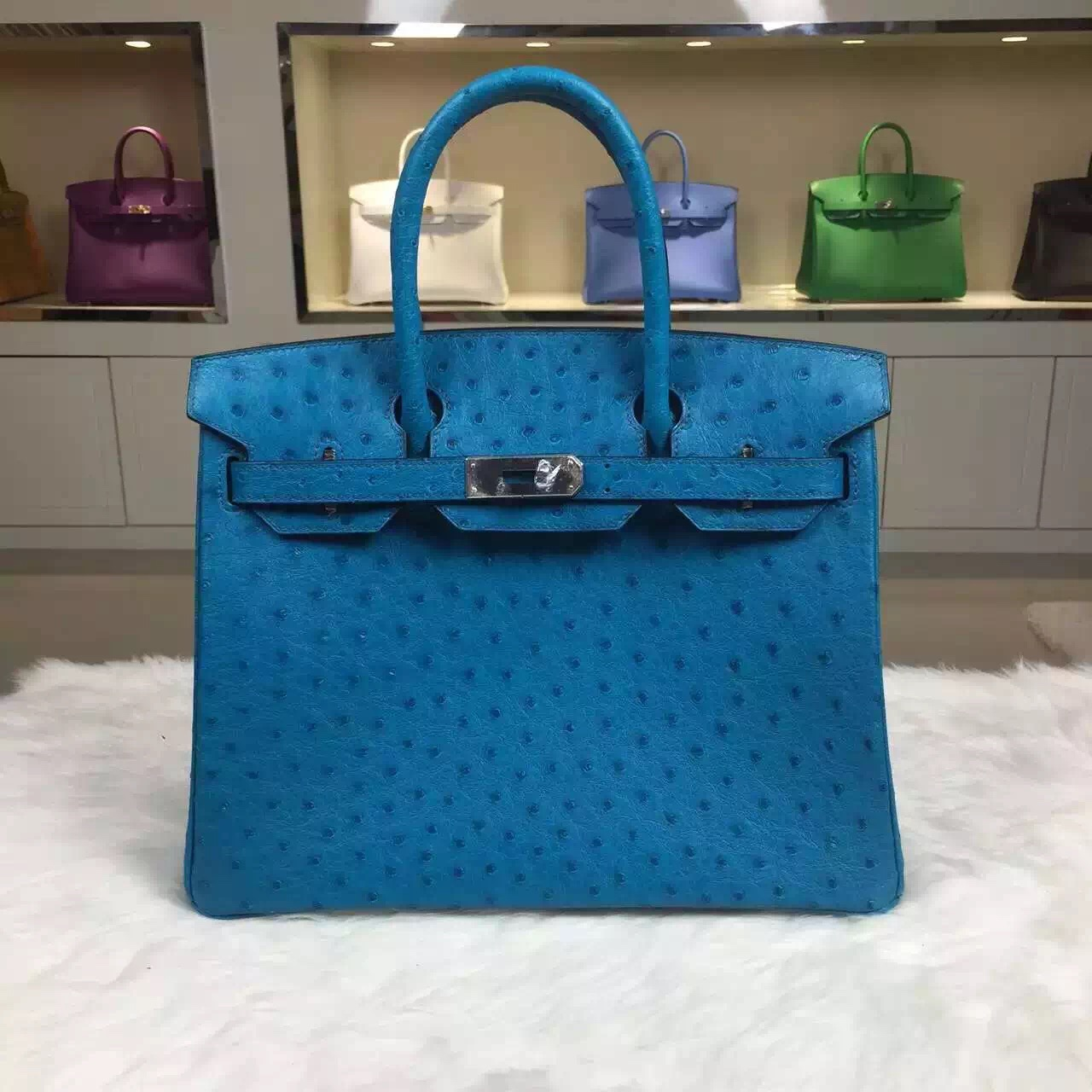 High Quality Hermes 7W Blue Izmir Original Ostrich Leather Birkin Bag 30CM