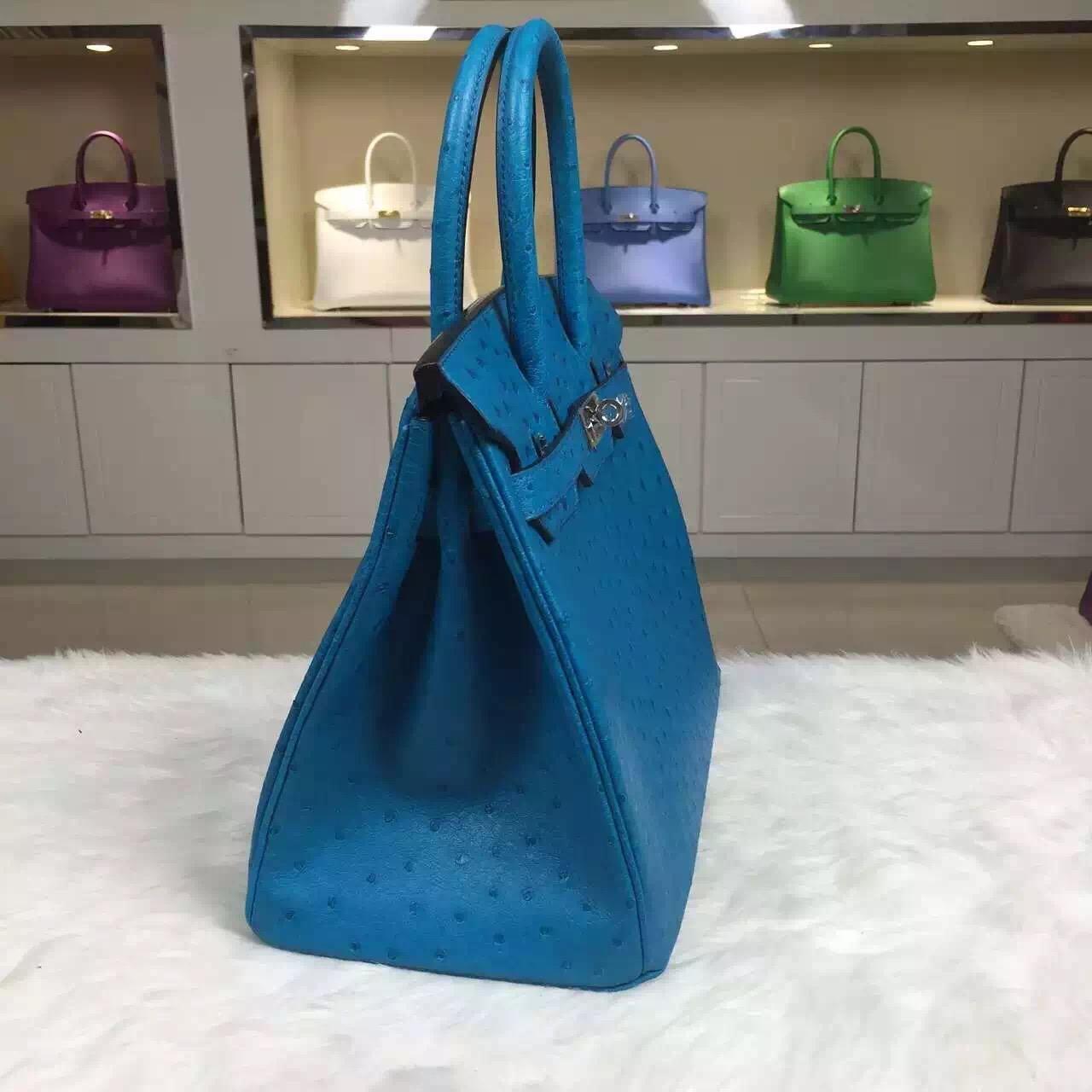 High Quality Hermes 7W Blue Izmir Original Ostrich Leather Birkin Bag 30CM