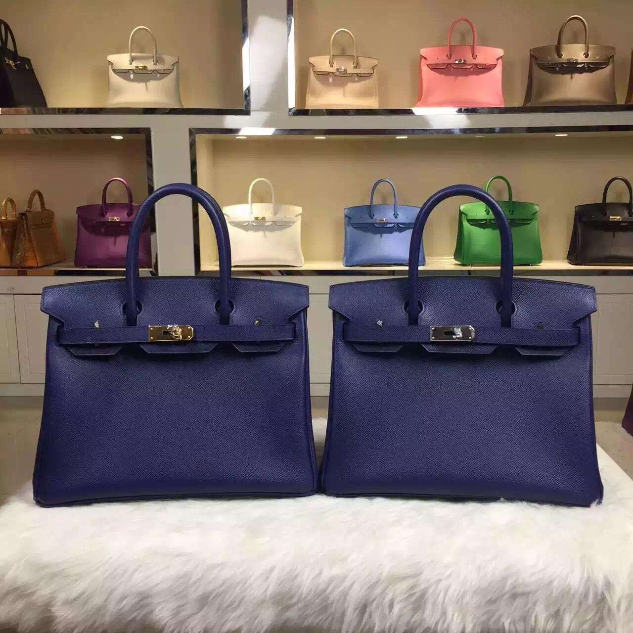Online Shopping Hermes 7K Blue Saphir Epsom Leather Birkin Bag 30cm Silver Hardware