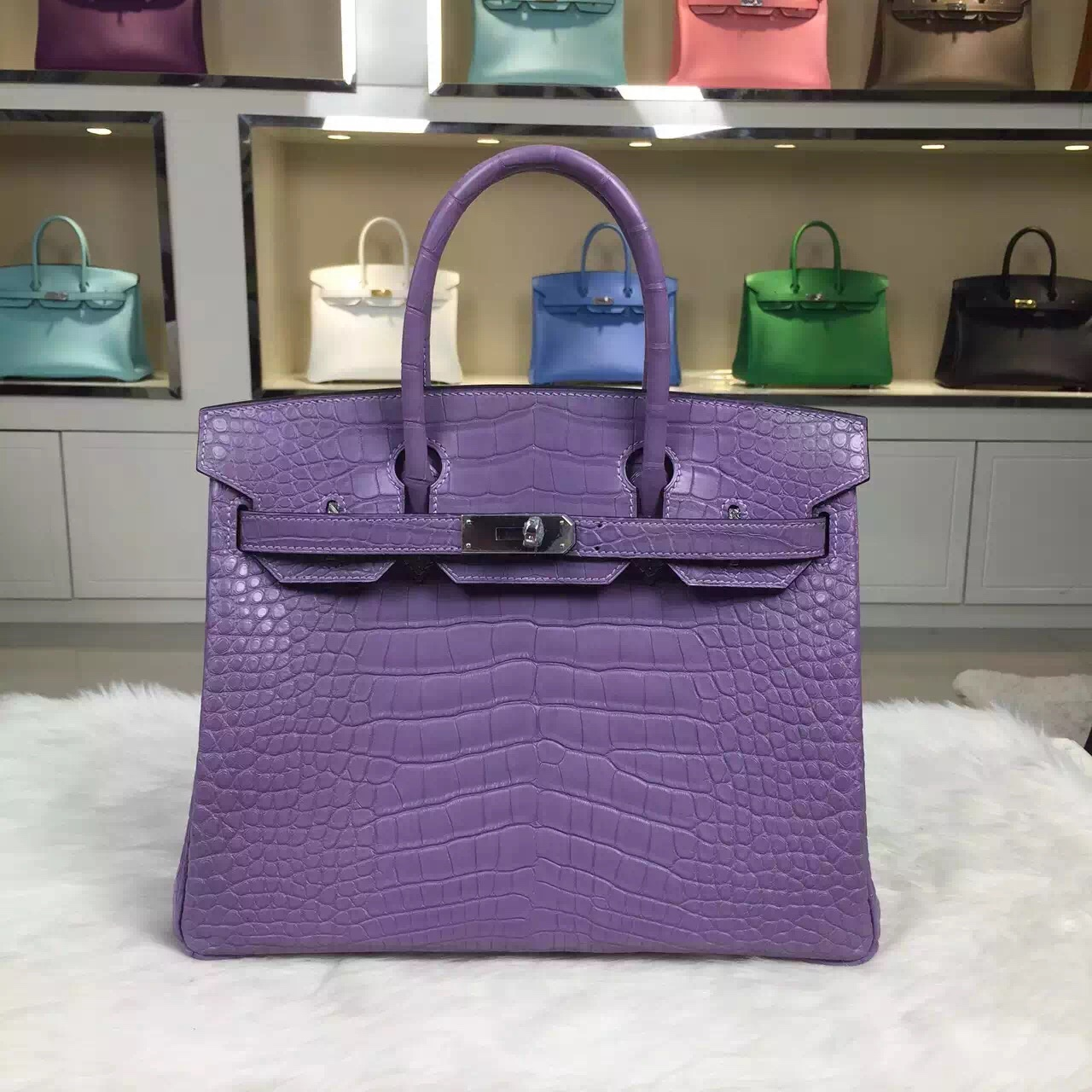 Custom-made Hermes Lavender Purple Crocodile Leather Birkin Bag 30cm Women's Tote Bag
