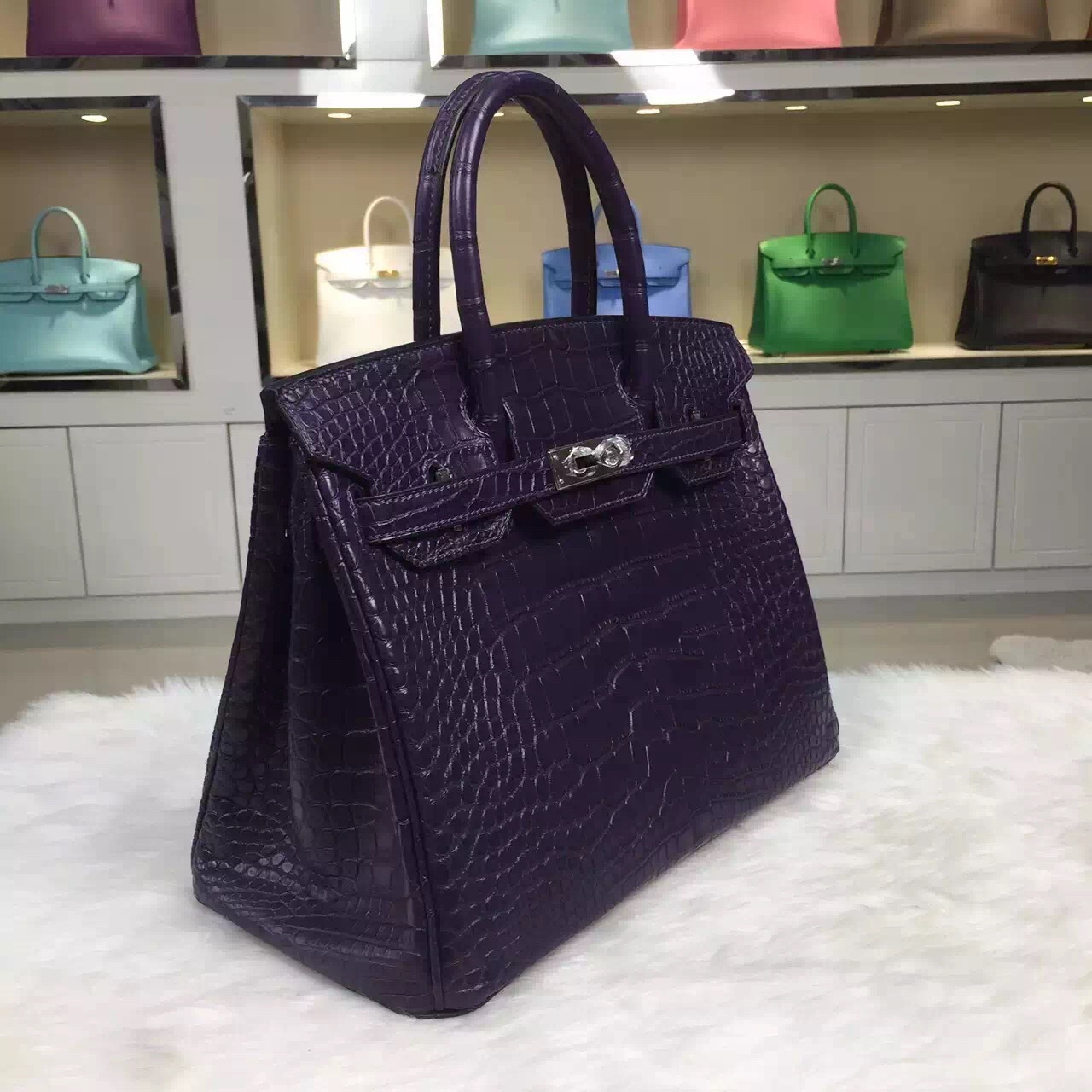 On Sale Hermes HCP Crocodile Leather Birkin30CM Crystal Violet Silver Hardware