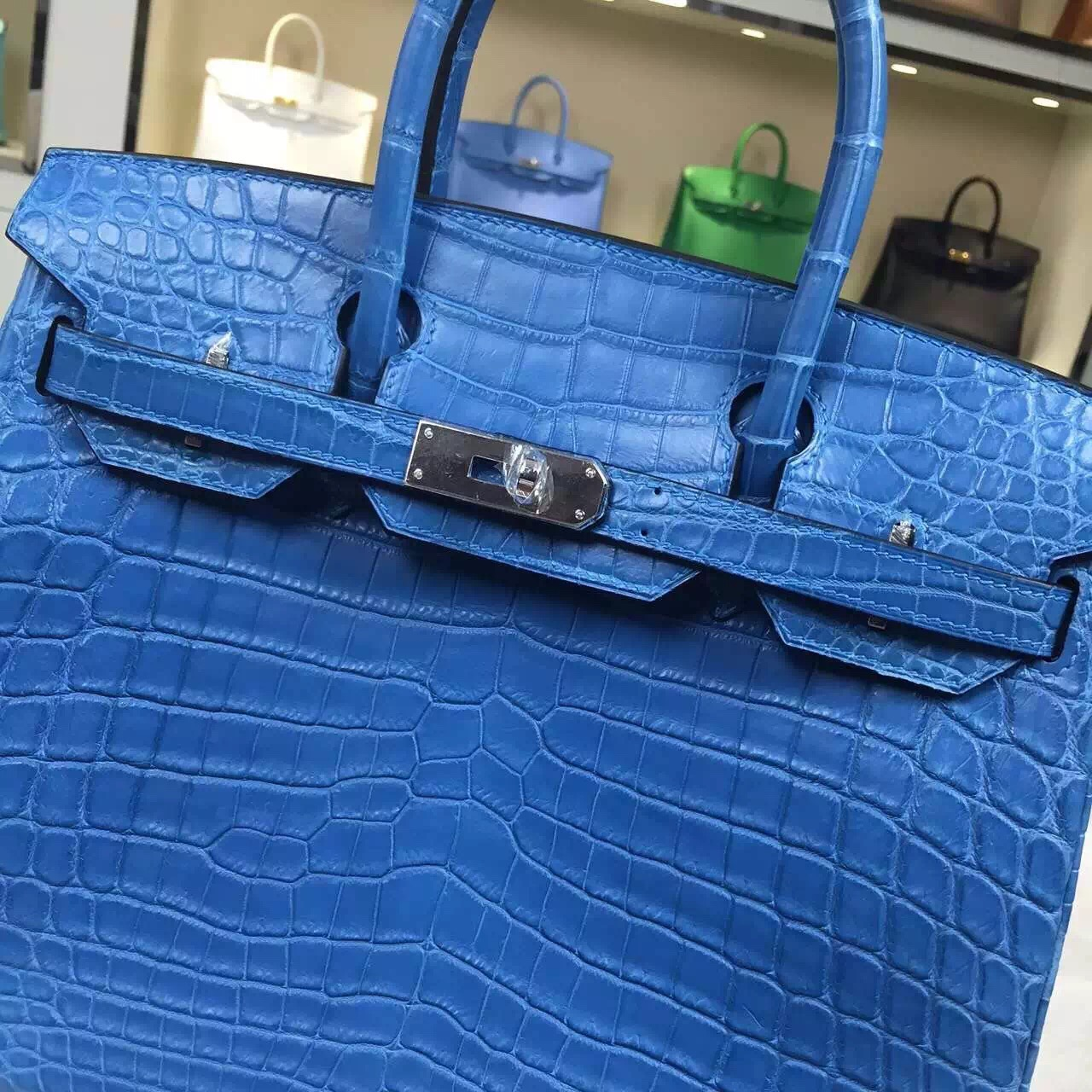 Hermes 7Q Mykonos Blue Original Crocodile Leather Birkin Bag 30cm Silver Hardware