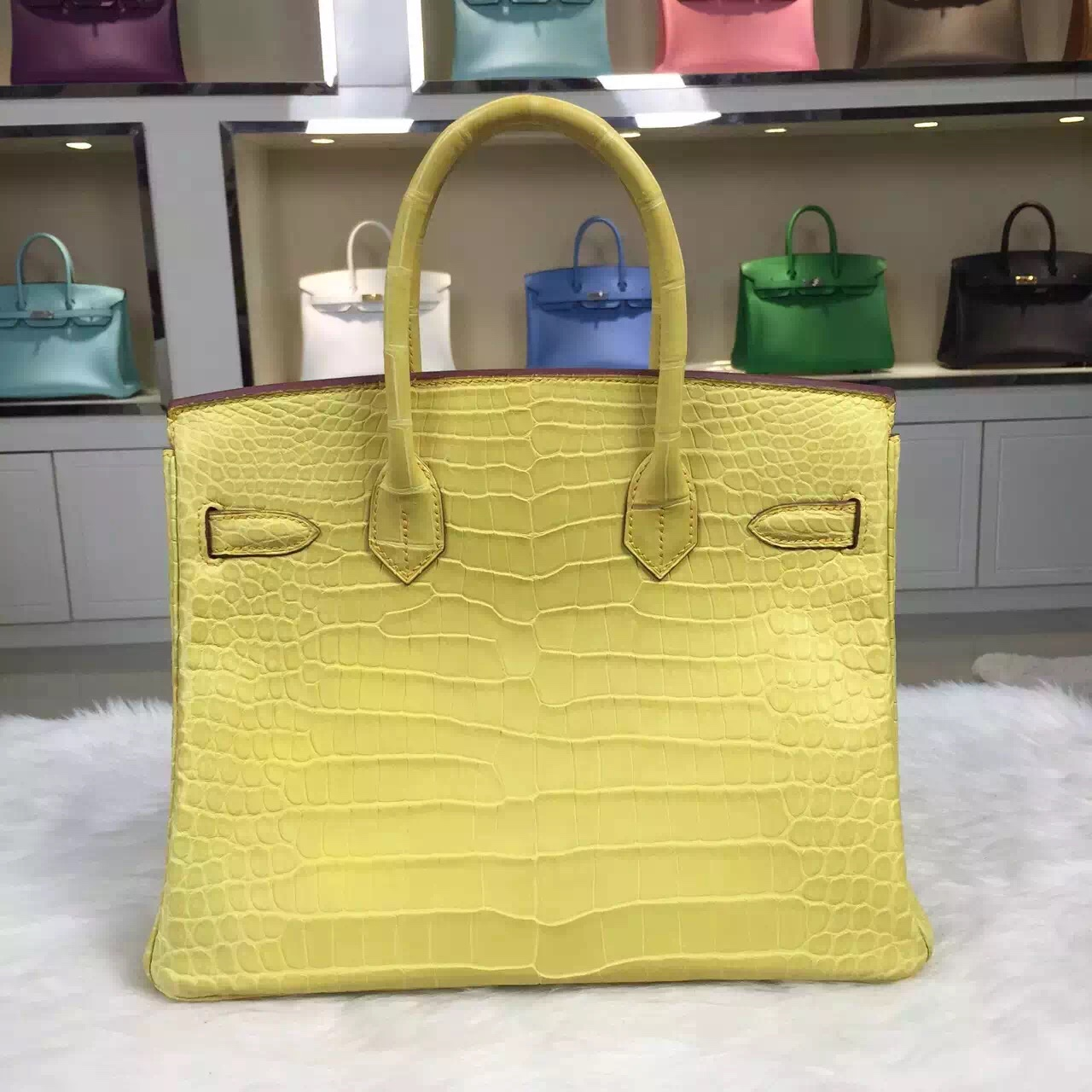 Hand Stitching Hermes M9 Mimosa Original Crocodile Leather Birkin 30cm Women's Bag