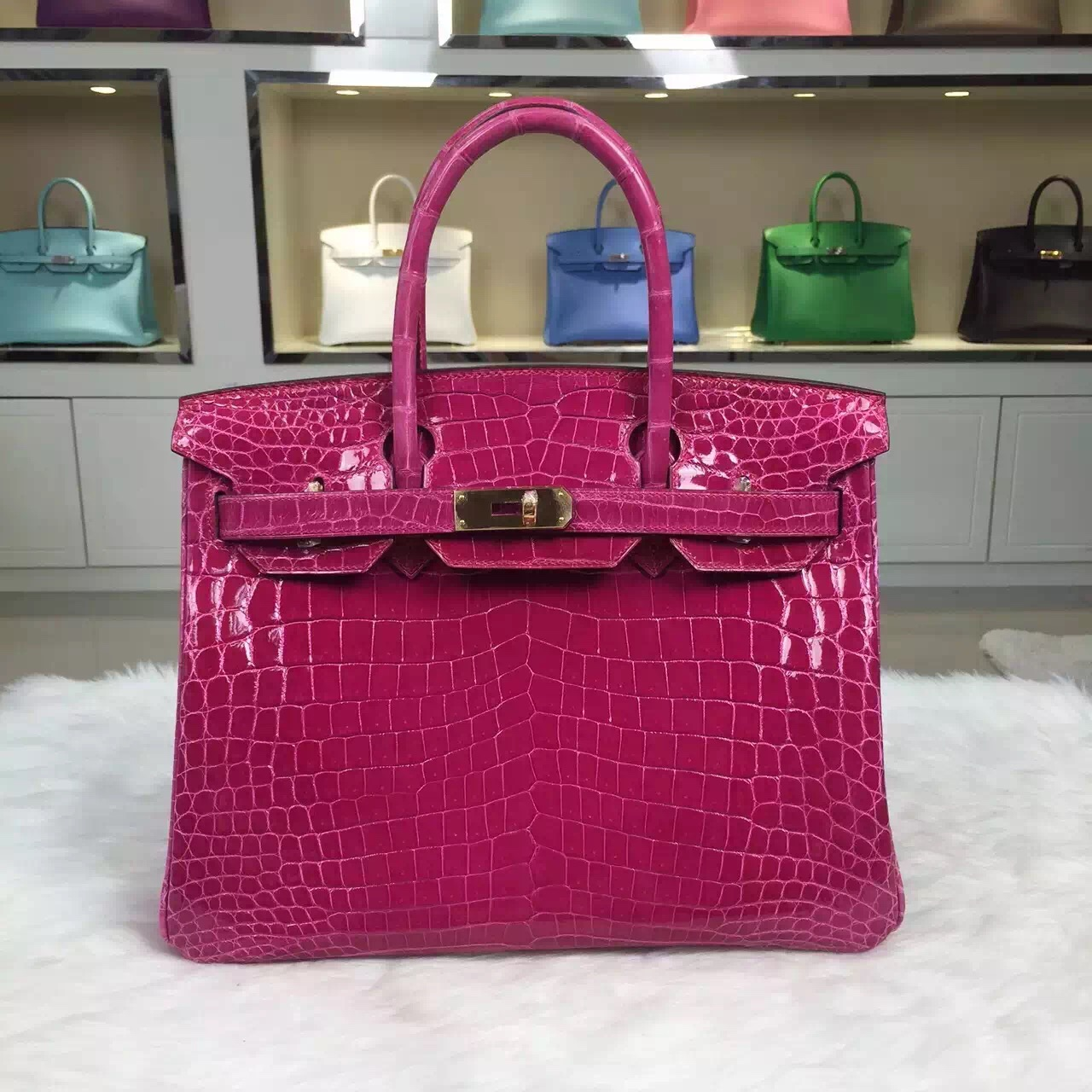 Wholesale Hermes Nicotious Crocodile Skin Birkin Bag 30CM in 5J Hot Pink