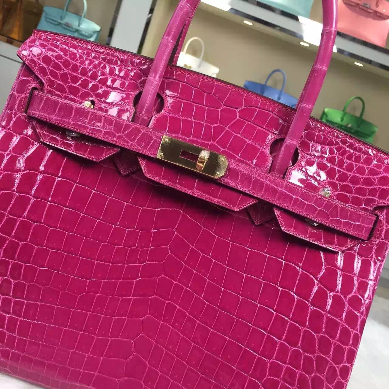 Wholesale Hermes Nicotious Crocodile Skin Birkin Bag 30CM in 5J Hot Pink