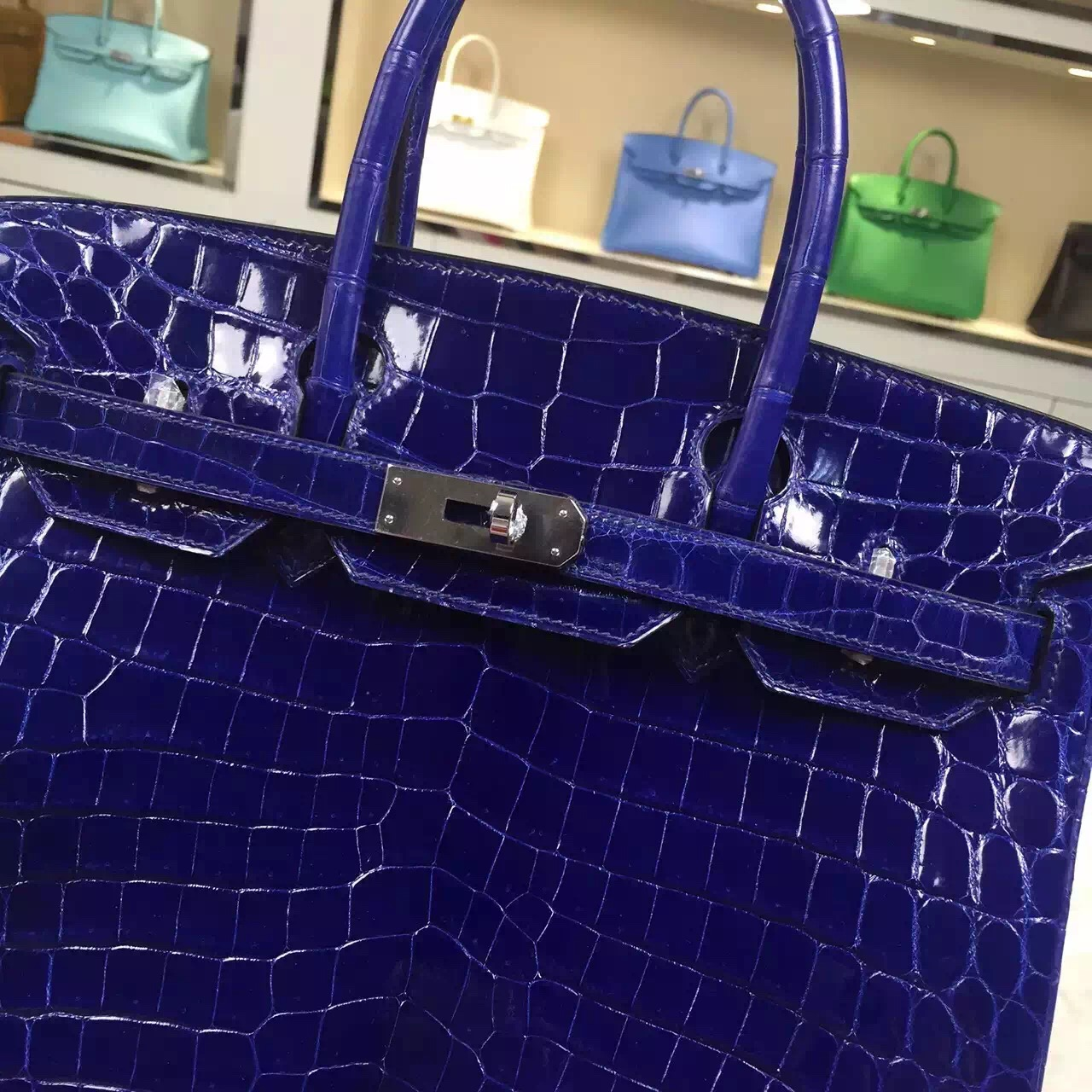 Vip Customized Hermes 7T Blue Electric Nicotious Crocodile Leather Birkin Bag 30CM