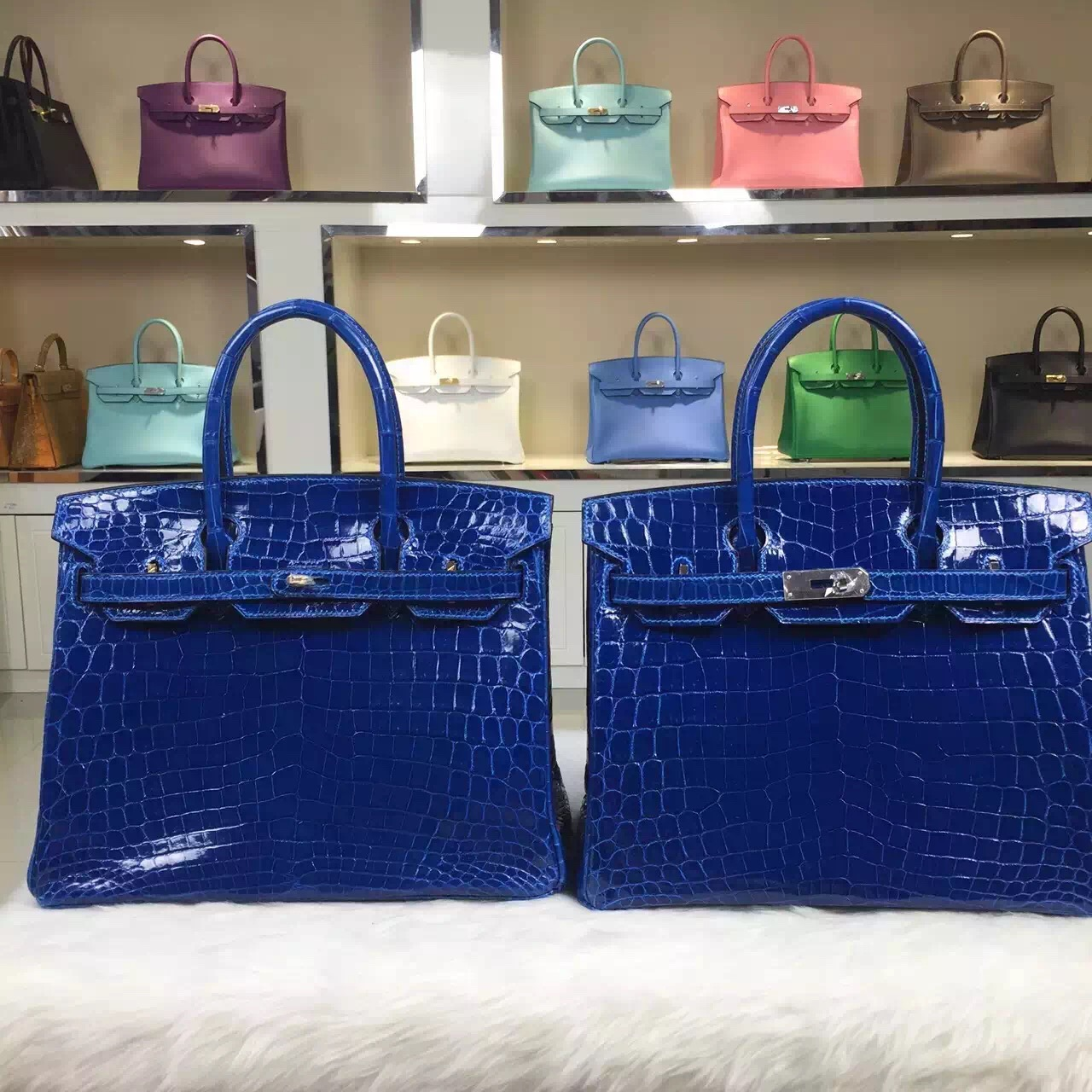 Hand Stitching Hermes HCP Nicotious Crocodile Leather Birkin30 in 7Q Mykonos