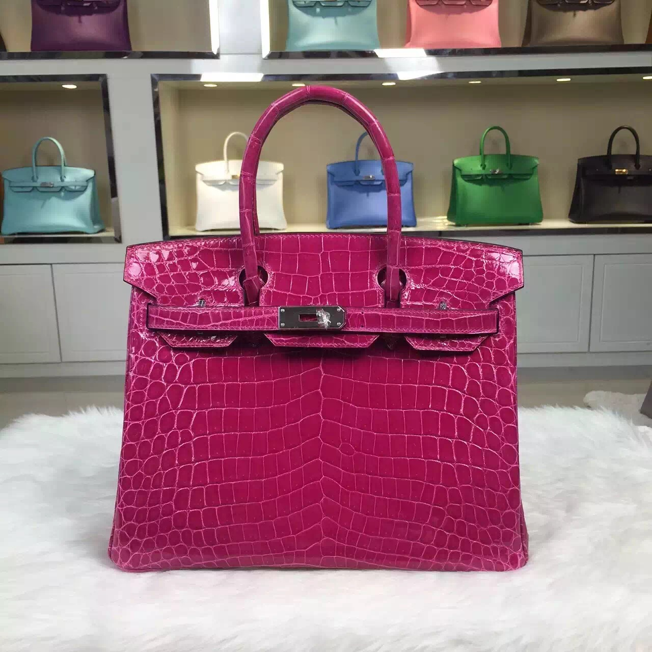 2015 New Women's Handbag Hermes J5 Rose Scheherazade Nicotious Crocodile Skin Birkin30CM