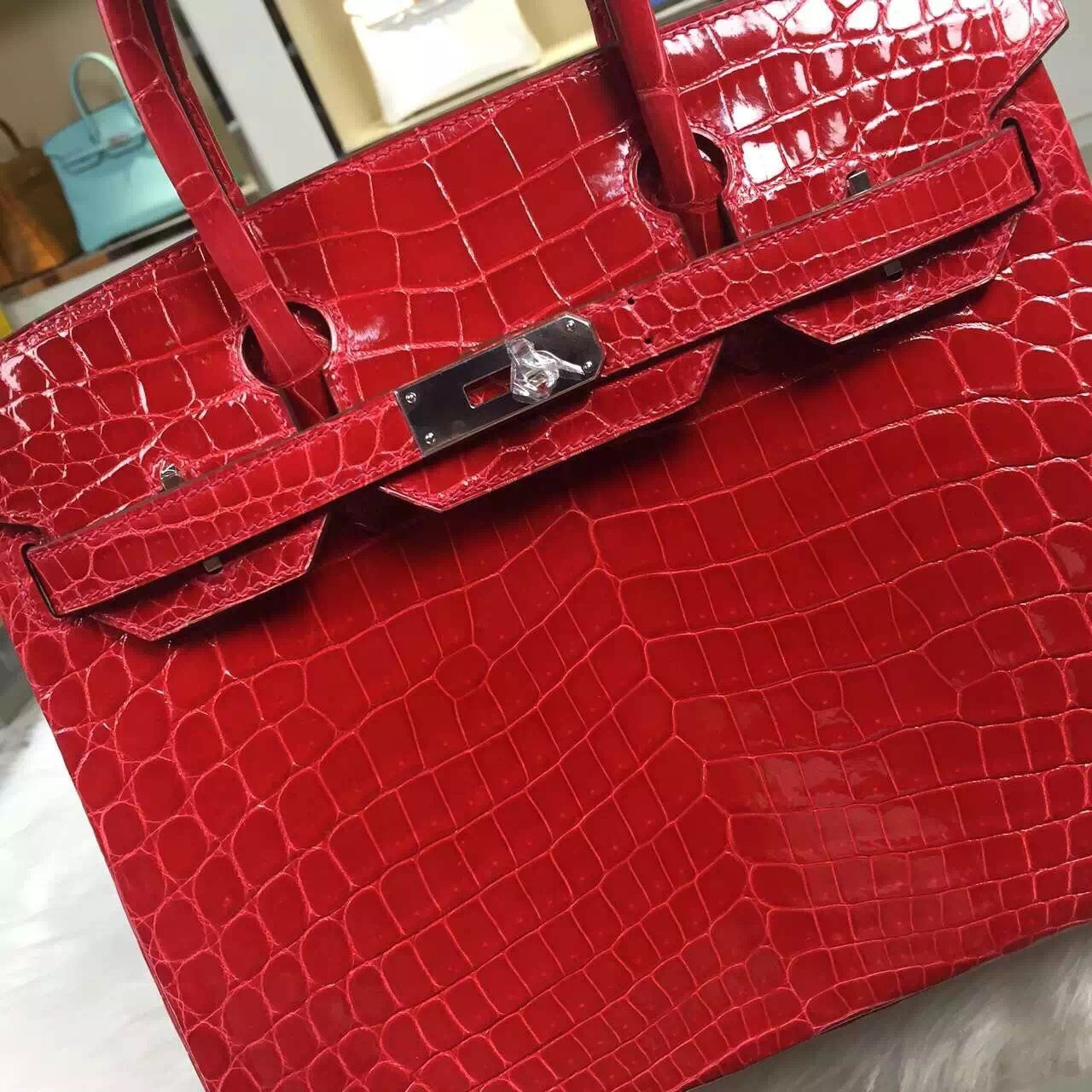 Hot Sale Hermes Ferrari Red Nicotious Crocodile Leather Birkin Bag 30CM Silver Hardware