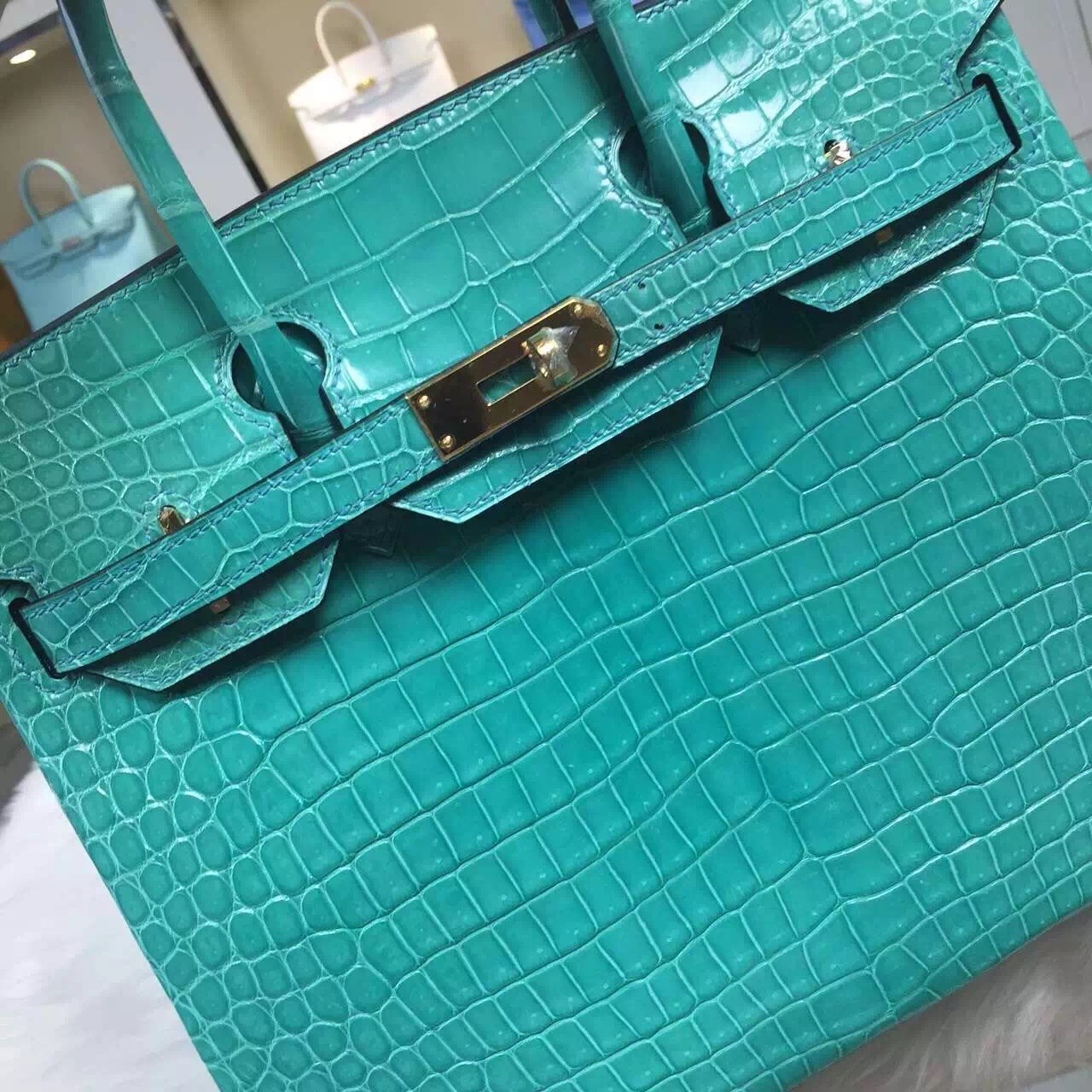 Hand Stitching Hermes Porosus Crocodile Leather Birkin30CM in 7V Lake Green