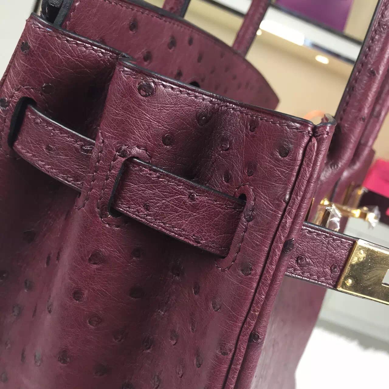 Elegant Hermes France Original Ostrich Leather Bordeaux Red Birkin30 Gold Hardware
