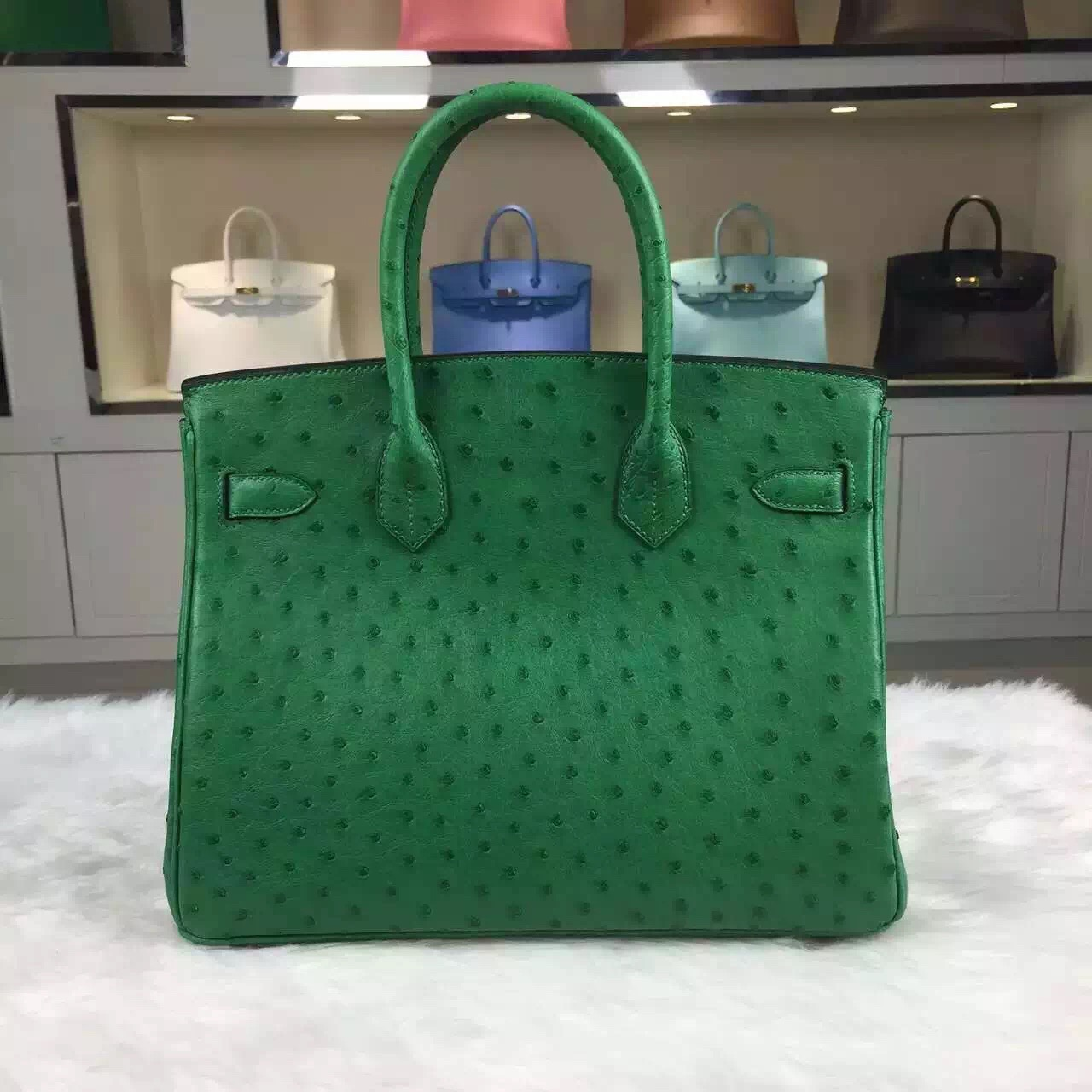 Online Shopping Hermes Ostrich Leather Birkin Bag 30CM in 1K Bamboo Green Ladies' Tote