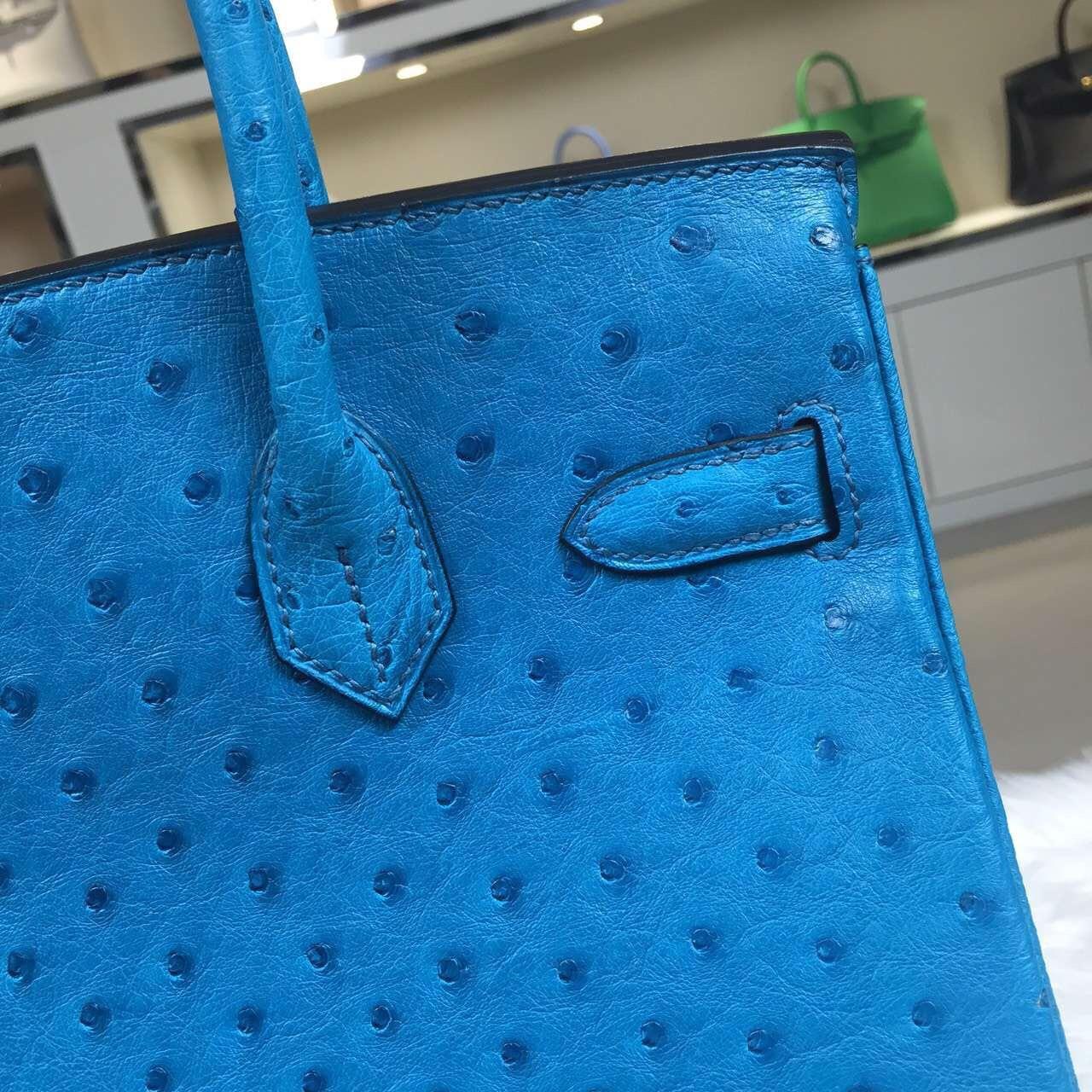 Hand Stitching Hermes 7W Blue Izmir Original Ostrich Leather Birkin Bag 30cm