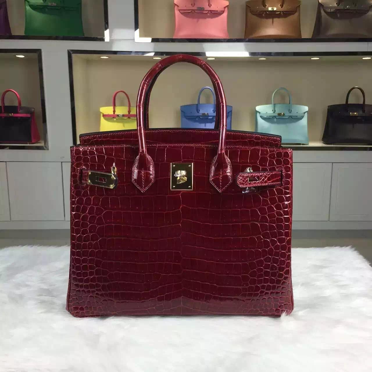 Wholesale Hermes Wine Red Original Crocodile Leather Birkin Bag 30cm Gold Hardware