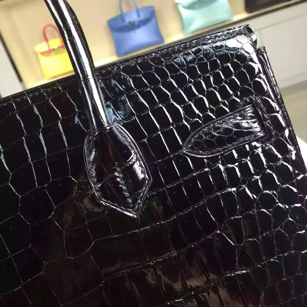 High Quality Hermes France Original Crocodile Skin Birkin30 in Black Gold Hardware