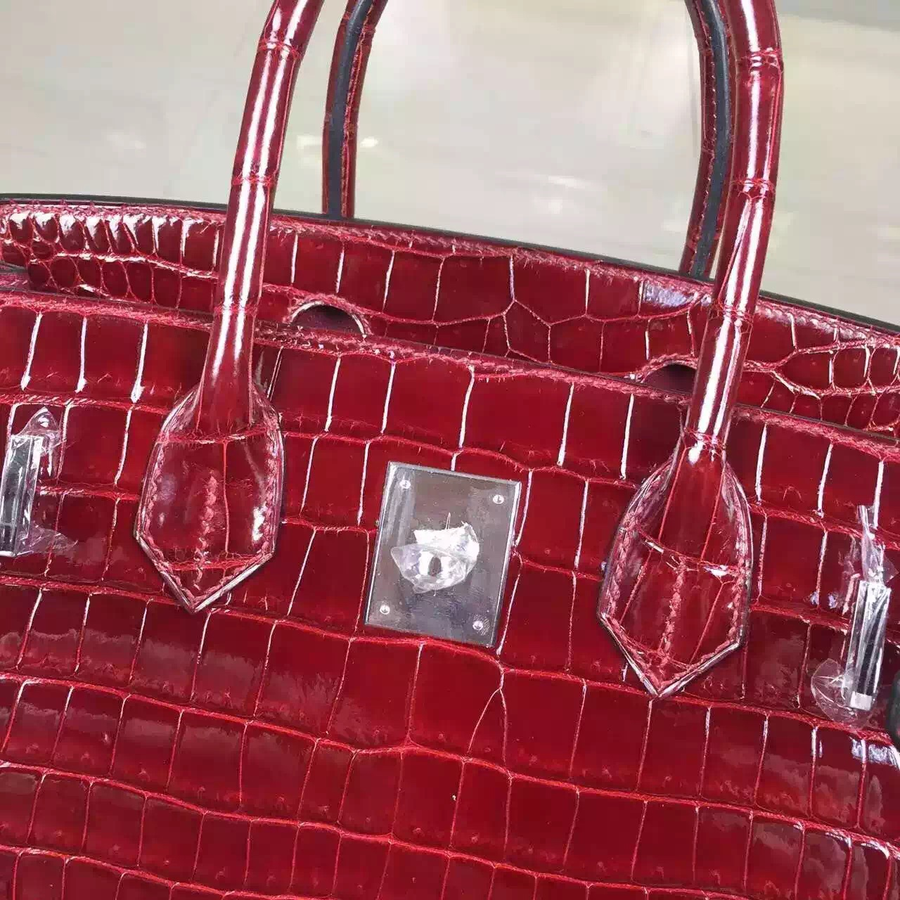 Discount Hermes Wine Red Original Porosus Crocodile Skin Birkin Bag 30cm