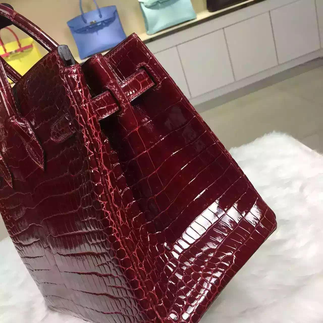 Discount Hermes Wine Red Original Porosus Crocodile Skin Birkin Bag 30cm
