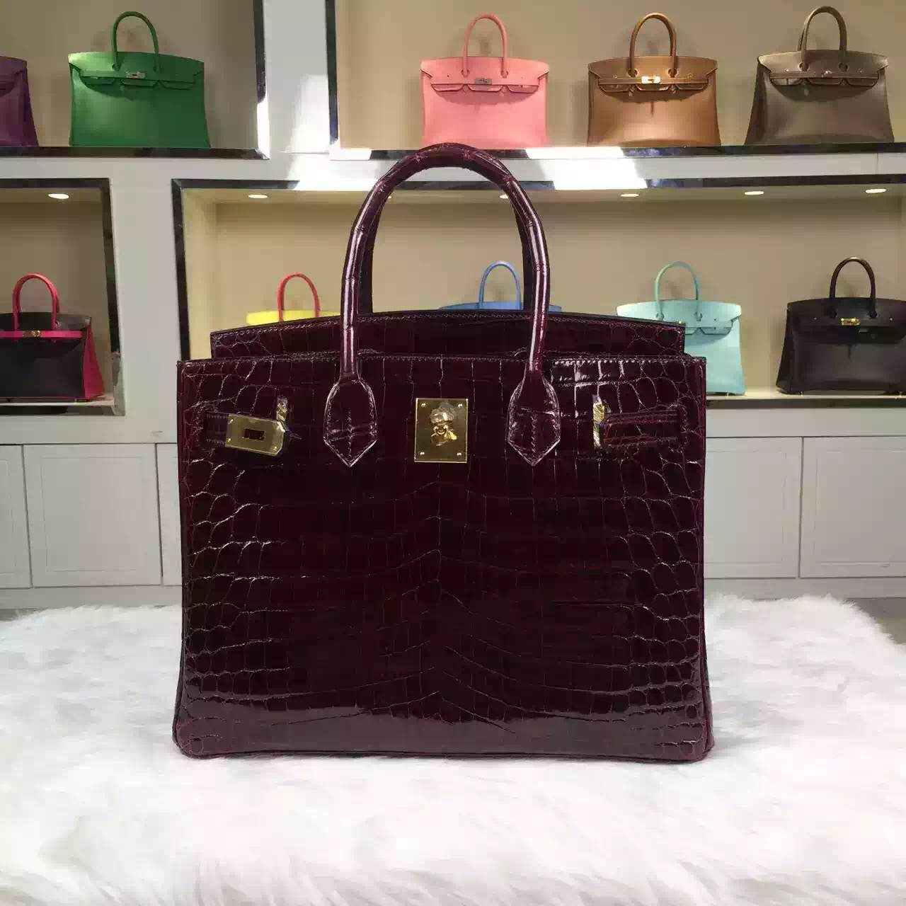 High Quality Hermes Crocodile Shiny Skin Bordeaux Red Birkin Bag 30cm Gold Hardware