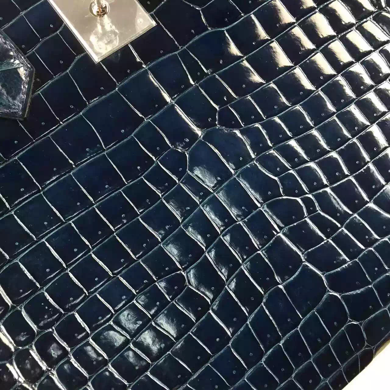 Wholesale Hermes Jean Blue France Crocodile Shiny Leather Birkin 30CM Tote Bag