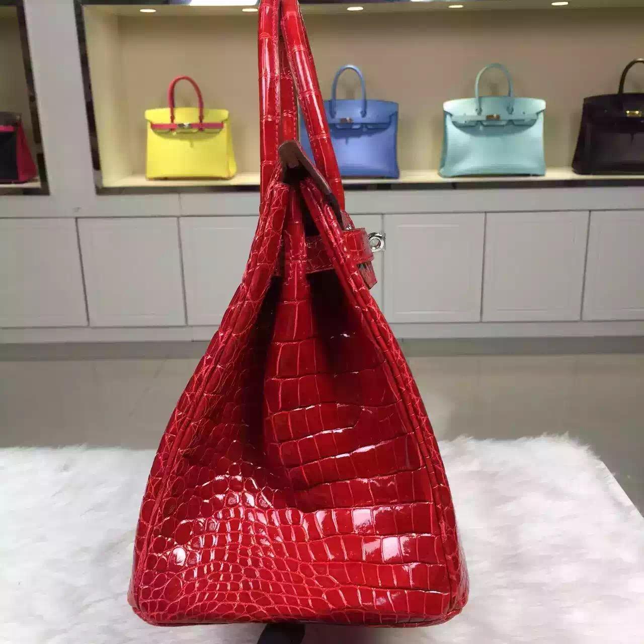 Hand Stitching Hermes Ferrari Red HCP Crocodile Shiny Skin Birkin Bag 30cm Silver Hardware