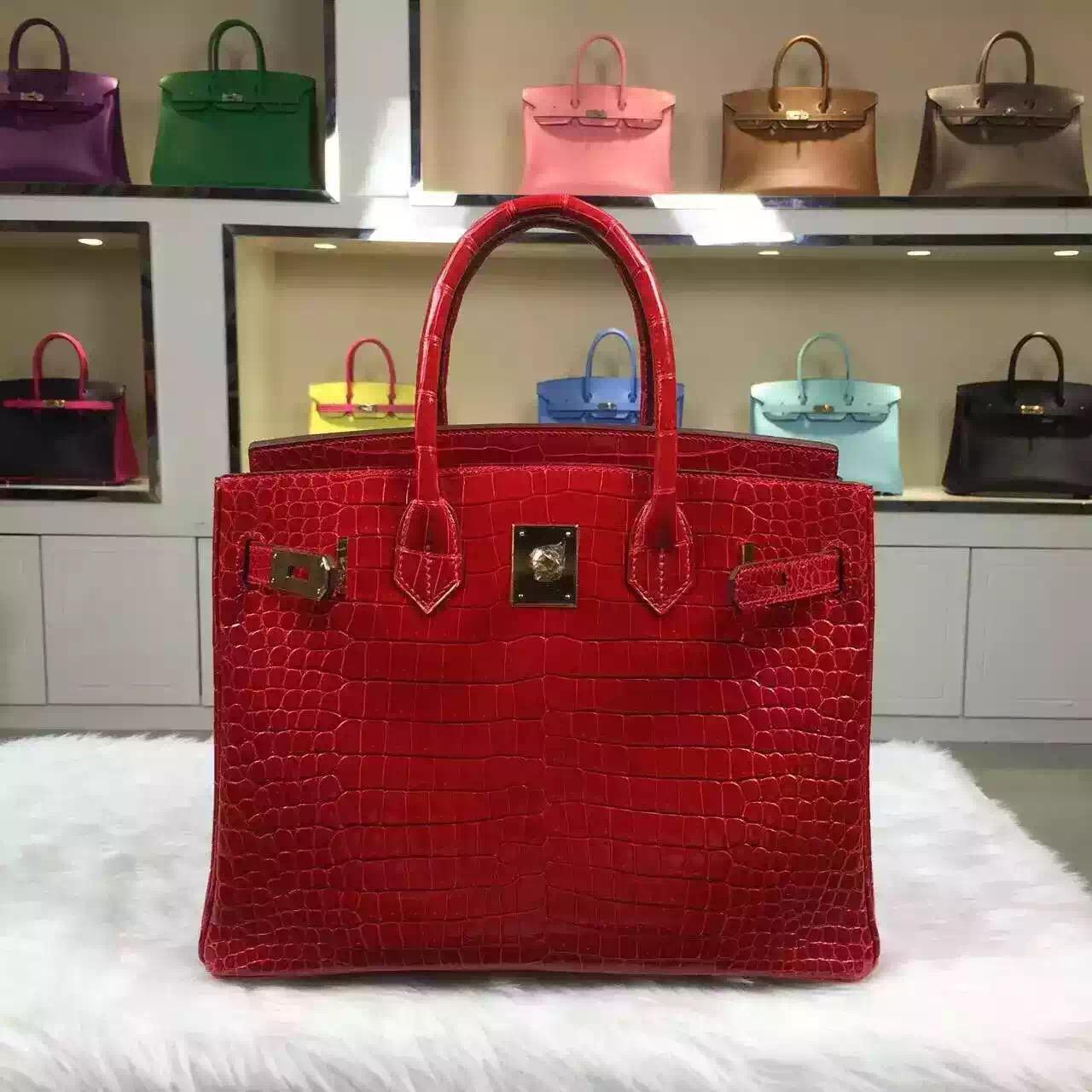 Online Shopping Hermes Birkin Bag 30CM Ferrari Red Crocodile Shiny Skin Gold Hardware