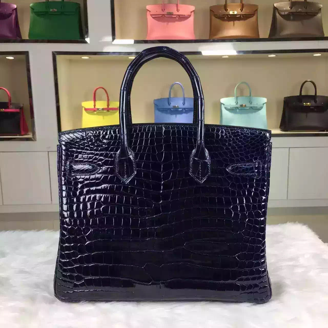 Vip Customized Hermes France Original Crocodile Shiny Skin Birkin Bag 30cm Blue Saphir