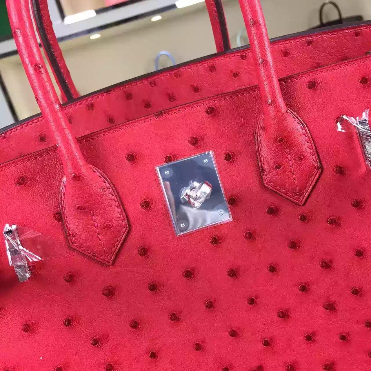 Wholesale Hermes Birkin30 HCP Ostrich Leather Red Ladies' Top Handles