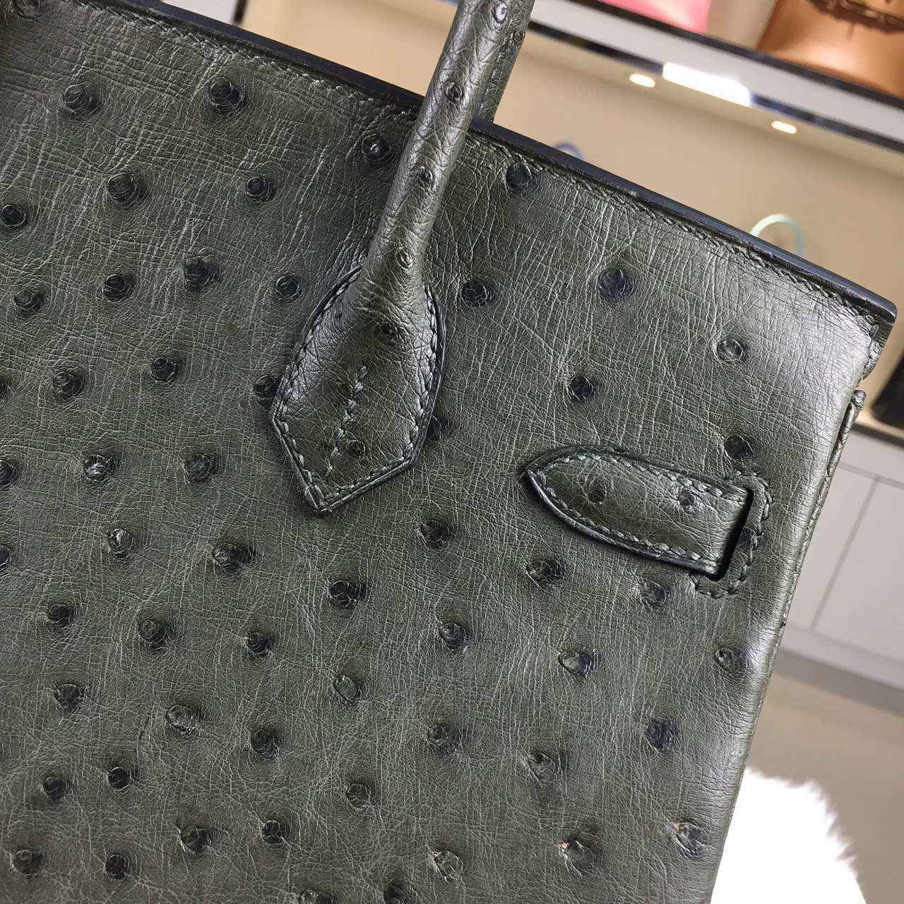 Discount Hermes HCP Original Ostrich Leather Birkin Bag 30CM in Canopee Green