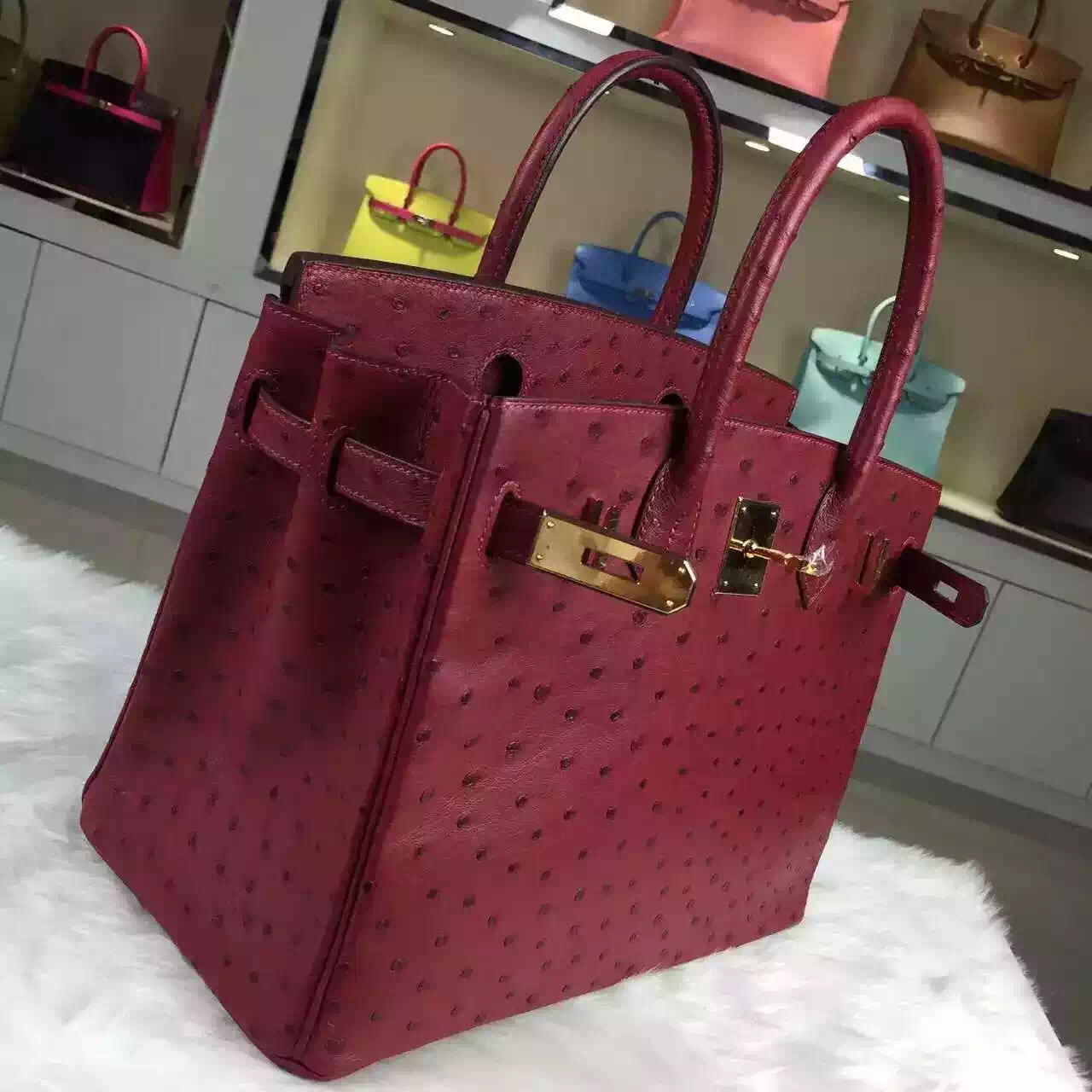 Hand Stitching Hermes France Ostrich Leather Hermes Red Birkin30CM Women's Handbag