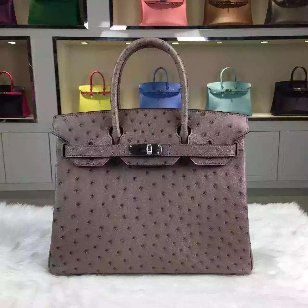High Quality Hermes Mousse Grey France Ostrich Leather Birkin Bag 30cm