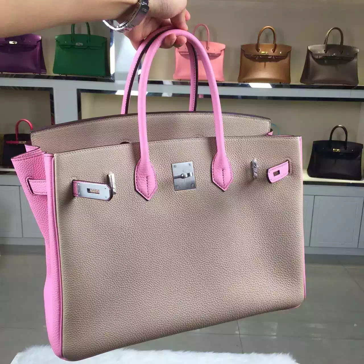 2015 New Hermes HCP Original Togo Leather Two-tone Color Birkin30CM Silver Hardware
