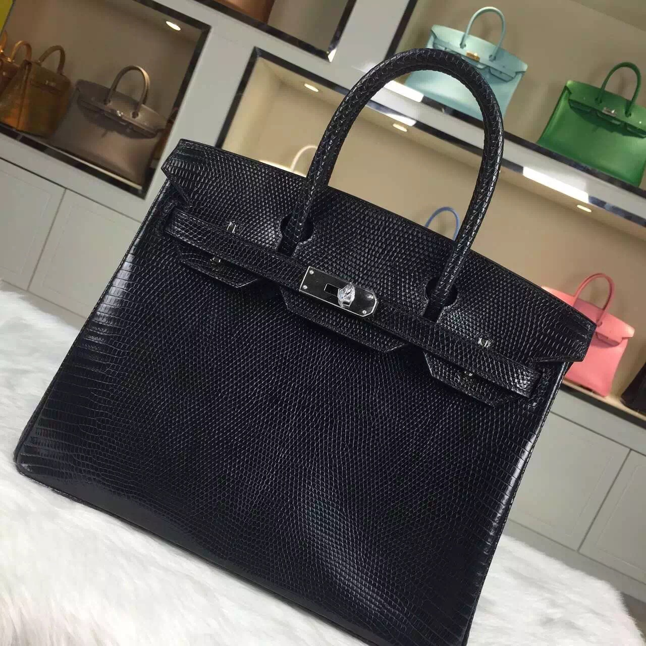 High Quality Hermes Black HCP Lizard Skin Leather Birkin Bag 30CM Silver Hardware