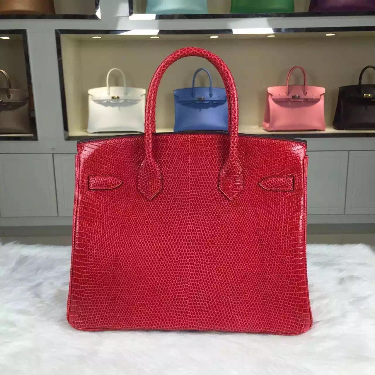 Hand Stitching Hermes Birkin Bag 30cm France Original Lizard Skin in Red